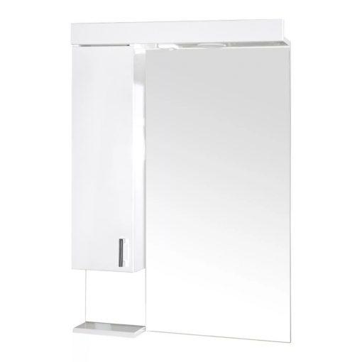 KARINA 65 cm széles balos fali fürdőszobai tükrösszekrény integrált LED világítással, MDF polcokkal