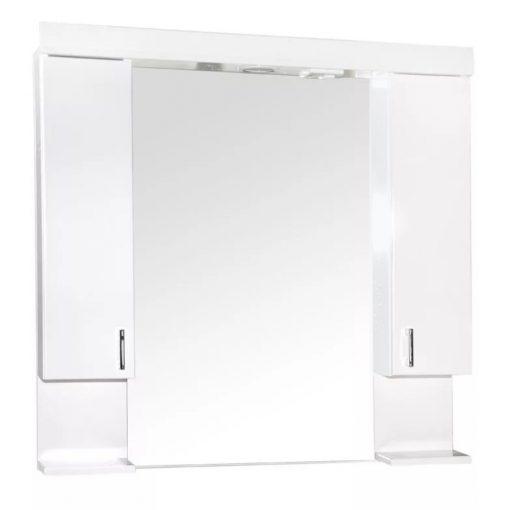 KARINA 85 cm széles soft close dupla fali fürdőszobai tükrösszekrény integrált LED világítással, MDF polcokkal