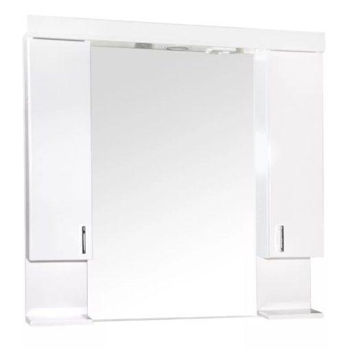 KARINA 85 cm széles dupla fali fürdőszobai tükrösszekrény integrált LED világítással, MDF polcokkal