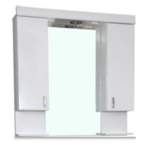 KARINA 80/85 cm széles dupla fali fürdőszobai tükrösszekrény integrált LED világítással, MDF polcokkal