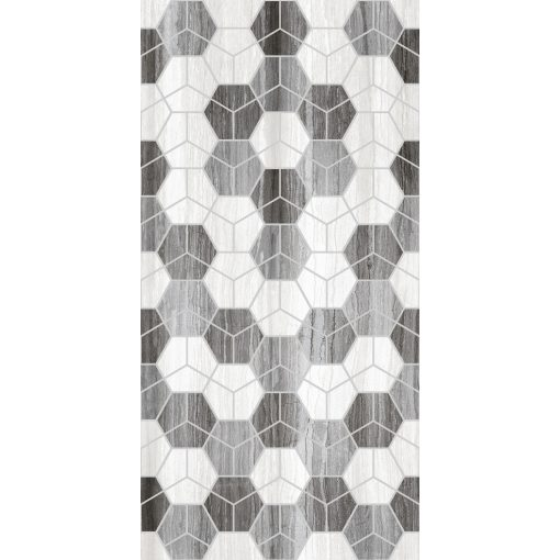 Royal Grey Hegza Motif 25x50 fényes porcelán falburkolat