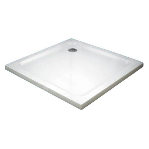 TONY 100x100 szögletes slim öntött márvány zuhanytálca leeresztőszeleppel és szifonnal, 4 cm magas
