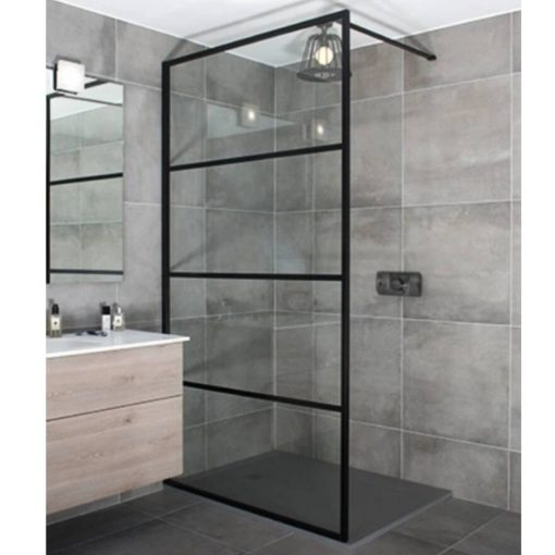 WALK-IN NANO BLACK 130x200, 90 cm széles univerzális zuhanyfal 8 mm vastag vízlepergető biztonsági üveggel, fekete elemmekel, 200 cm magas